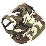 Gorra de beisbol con visera para perro de Sztara, huecos para las orejas, camuflaje; para razas pequeñas y medianas.