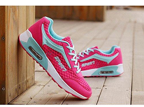 WZG Mme chaussures de rembourrage mode nid d'abeille creux maille coussin chaussures de course occasionnels chaussures de sport plum red