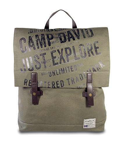 CAMP DAVID Yukon River Herren Männer Canvas großer Rucksack Back Pack Khaki