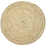 Handgewebter runder Jute Teppich 120 cm groß Teppich Abril Natur   Outdoor Teppiche Rund geflochten für Garten oder Balkon   Indoor im Wohnzimmer Kinderzimmer   Mediterrane Deko für Ihre Wohnung