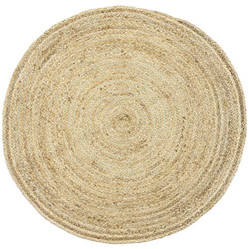 Handgewebter runder Jute Teppich 120 cm groß Teppich Abril Natur | Outdoor Teppiche Rund geflochten für Garten oder Balkon | Indoor im Wohnzimmer Kinderzimmer | Mediterrane Deko für Ihre Wohnung