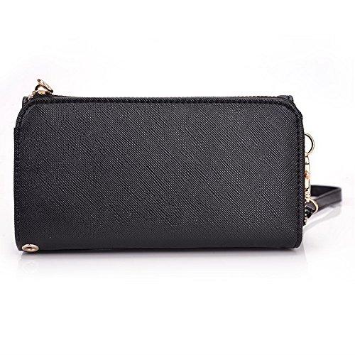 Kroo d'embrayage portefeuille avec dragonne et sangle bandoulière pour Prestigio MultiPhone 8400Duo Smartphone Black and Purple Black and Green