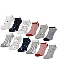 6 oder 12 Paar Damen Sneaker Socken Baumwolle Damensocken Ringel Punkte Sterne - 36426 - sockenkauf24