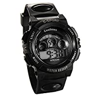 JewelryWe Multi-function Digital Sports Wrist Watches for Ages 6-18 Kids Boy Girl with Black