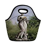 Jieaiuoo Portable Lunch Bag,Sculptures Decor,Sculptured Figure Among Greenery on The Grounds of The Achillion Palace Corfu Island,Green Beige,for Kids Adult Thermal Insulated Tote Bags