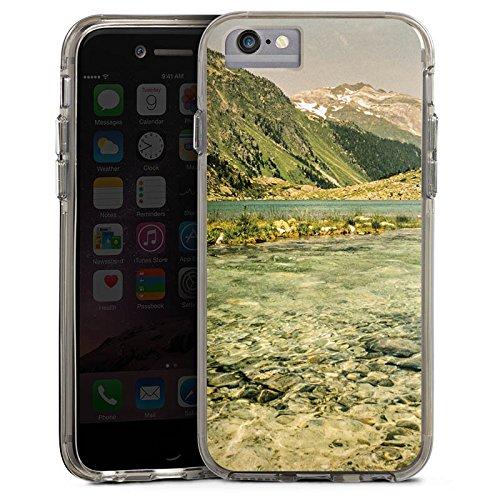 Apple iPhone 7 Bumper Hülle Bumper Case Glitzer Hülle Berglandschaft Forest Wald Bumper Case transparent grau