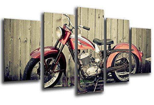 Quadro su Legno, Moto d'Epoca, Harley Davidson, 165 x 62cm, Stampa in qualita Fotografica. Ref. 26112