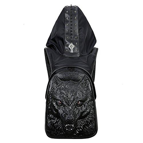SZH PU-Schulter-Beutel 3D Wolf-Muster-Dekor, das kampierendes Bergsteigen wandert Black
