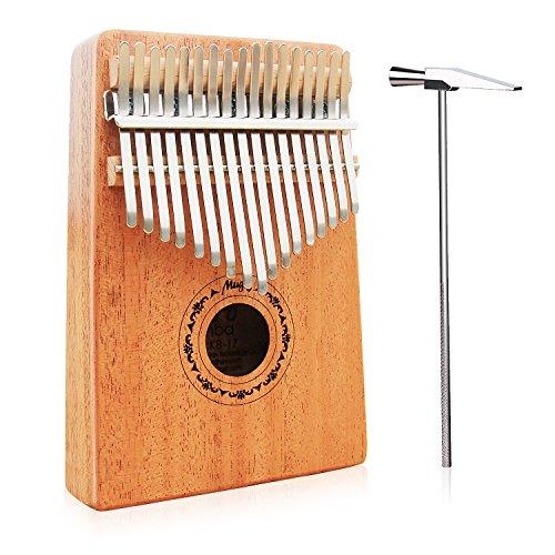Mugig Kalimba Mbira Sanza 17 tasti Thumb Piano Mogano Body Ore Metal Tines, con istruzioni e Tune Hammer Portable e Easy-to-learn