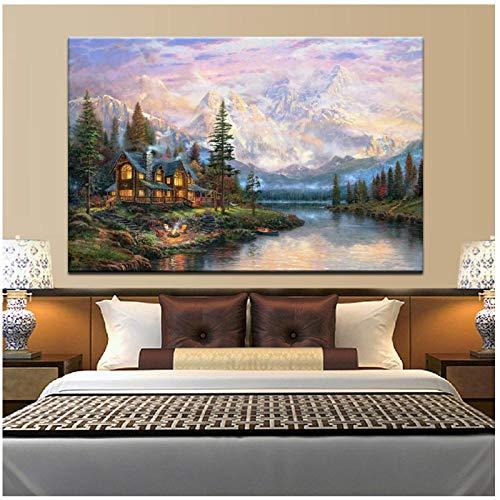 Ywsen Thomas Kinkade Kathedrale Hill Inn, abstrakte Landschaft Poster drucken Leinwand Wandkunst Bild Wohnzimmer Dekoration- ohne Rahmen 70x100 cm