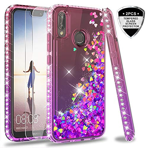 LeYi Hülle Huawei P20 Lite/Nova 3E Glitzer Handyhülle mit Panzerglas Schutzfolie(2 Stück),Cover Diamond Rhinestone Bumper Schutzhülle für Case Huawei P20 Lite Handy Hüllen ZX Gradient Pink Purple