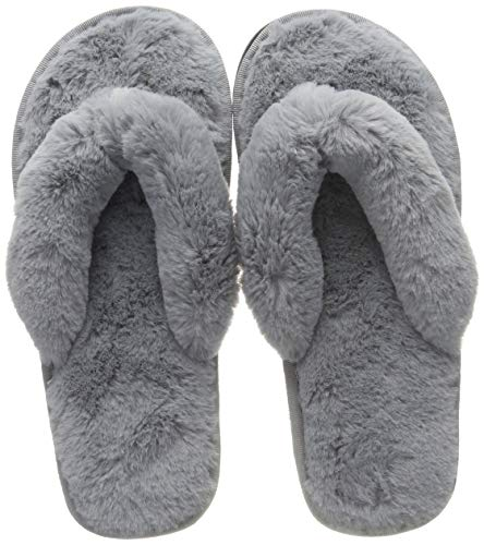 COFACE Damen Elegantes Bett Hausschuh Warmer Plüschfell Flip Flops Baumwolle Pantoffel Rutschfeste Schuhe für Herbst/Winter in 4 Farben,Grey-38/39