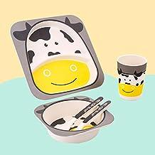 Xing Lin Cubertería Para Niños Los Niños De Fibra De Bambú Cubiertos Y Vajilla Para Bebé Cartoon Bowl Spoon Fork 5 Palo,5 Piezas De Vaca Gris
