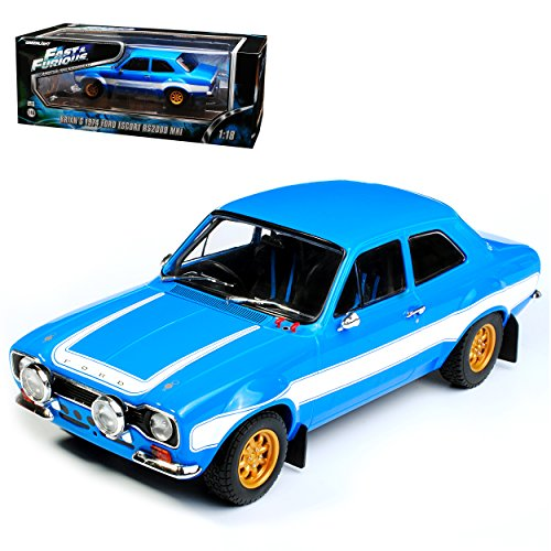 Ford Escort RS 2000 Blau MKI Brian O Connor Paul Walker Fast and Furious VI 2013 1/18 Greenlight Modell Auto