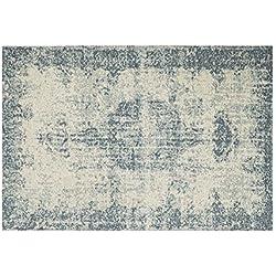 Alfombra Salón Moderno–alfombra efecto vintage desgastado Marfil y azul deco 27L