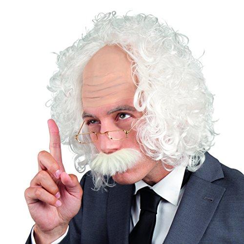 Amakando Opa Perücke mit Halbglatze - weiß - Verrückter Professor Einstein Perücke Alter Mann Glatze Faschingsperücke Wissenschaftler Kostüm Accessoire Herren Verrückter Professor Einstein (Verrückter Wissenschaftler Kostüm)