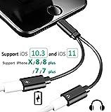 Magic Dual Lightning Adapter Dati audio e caricabatterie e sincronizzazione compatibili per adattatore i OS 11 Double Lightning per iPhone 7/7 Plus 8/8 plus iPhone X (nero)