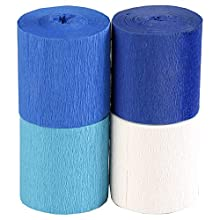 Clairefontaine Fireproof Crepe Paper, 5 cmx10m - Assorted Blue Colours, Pack of 4
