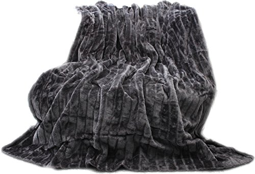 Felldecke, Hochwertige Kuscheldecke, Decke, Wohndecke, Nerzdecke, Plaid, Webpelzdecke, Tagesdecke (Grau)