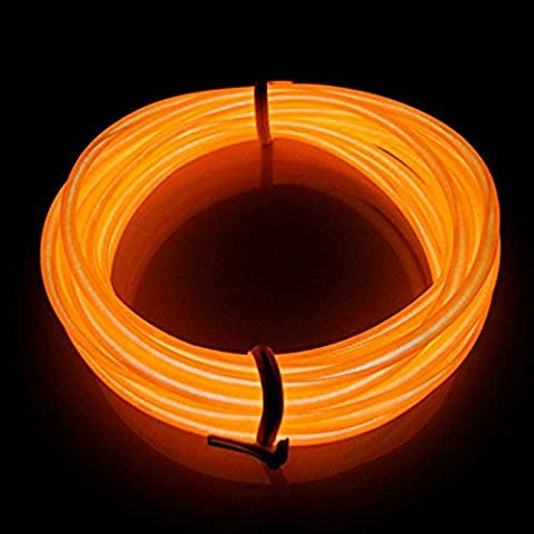 EL Wire, Portable Electroluminescent wire Luminous wire 3M length Driver with Battery Pack Controller for Cosplay Dress Burning Man Party Christmas Decoration (orange)