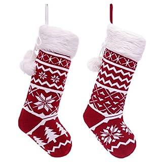 Valery Madelyn 2pcs Medias de Navidad, 21in/53cm Calcetines de Navidad Rojo Blanco, Adornos de Navidad Tela con Piel Sintética, Tarjeta de Nombre, Decoración de Regalo Navidad (Tradicional)