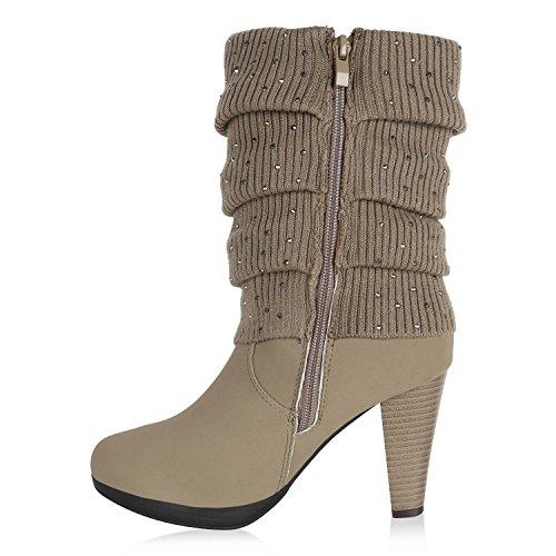 Stiefelparadies Damen Gefütterte Stiefel Schnallen Nieten Stulpen Stiefeletten High Heels Leder-Optik Schuhe Trichterabsatz Boots Flandell Khaki Stulpen Bexhill