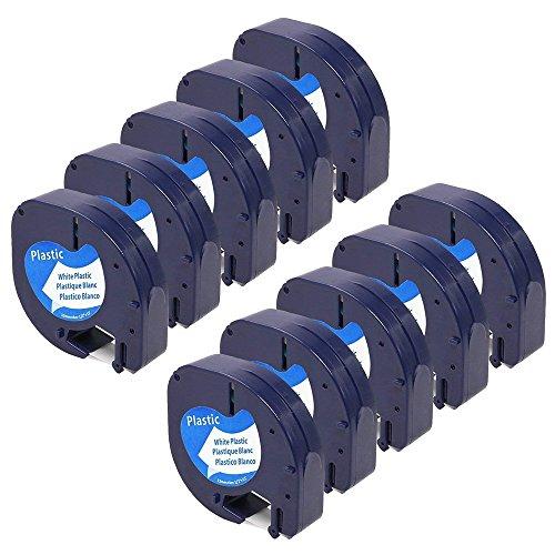 Ersatz Dymo Plastic White 12mm x 4m, 10-Packung Kompatibel Dymo S0721660 Etikettenband für Dymo LetraTag LT-100H LT-100T Etikettendrucker Handgerät (LetraTag-Etikettiergeräte, Schwarz auf Weiß)