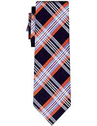 cravate soie tartan pattern black orange