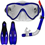 Tauchset Dunlop mit Farb- und Größenauswahl - Schnorchel Set - Tauchermaske - Schnorchel - Schwimmflossen (Blau, 38-39)