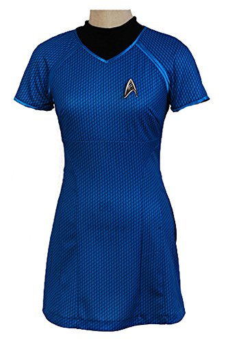 Fuman Star Trek Into Darkness Marcus Shirt Kleid Uniform Cosplay Kostüm Blau XXXL (Star Trek Shirt Kostüme)