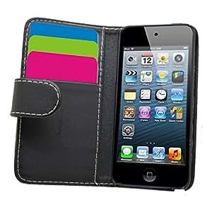 WalkNTalkOnline Duo Pack Étui portefeuille en cuir pour iPod touch 5egénération avec porte-cartes, Cuir synthétique, noir, 12,3 x 5,9 x 0,6