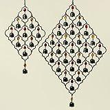 Toller Glocken Metall Hänger für Haus und Garten Dekoration Anhänger ca. 80cm orientalisch Fensterdekoration