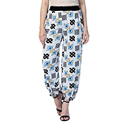 Grand bear Womens Polyester Harem Pants ( Wpl-Beg Leaf-37, Black, Free Size)