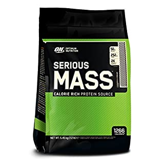Optimum Nutrition Serious Mass Weight Gainer Whey Protein Powder with Vitamins, Creatine and Glutamine. Protein Shakes by ON - Cookies & Cream, 16 Servings, 5.44kg