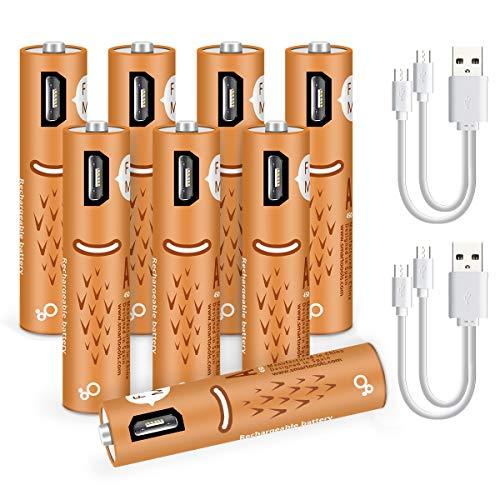 Wiederaufladbare AAA-Batterien 450mAh, AAA-Batterien mit USB-Anschlüssen - Hochleistungsbatterien Langlebige Leistung Wiederaufladbare Batterie über USB-Kabel (8 Zähler) Usb Aaa Batterie