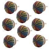8 X Möbelknopf Möbelknauf Möbelgriff 8er SET Keramik Porzellan handbemalte Möbelknöpfe für Schrank, Schublade, Kommode, Tür Quist.shop