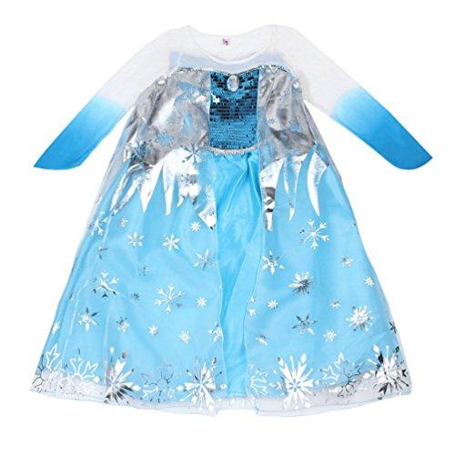 Cute Kostüm Little Girl - CHOULI Neue Prinzessin Mädchen Kostüm Party Phantasie Schnee einfrieren Königin Cape Kleid blau 120