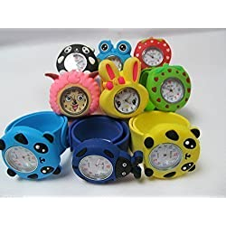 Lovely Bendable Kids Children 3D Animals Cartoon Plastic Strap Slap Watches 1pcs