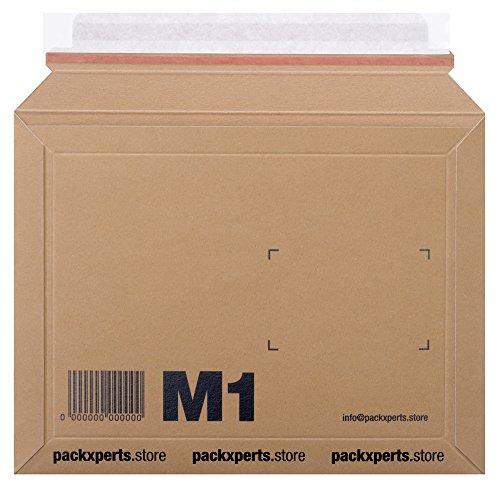 Packxperts Versandtasche aus Karton, selbstklebend mit Abreißstreifen, 235x180 mm, braun (50er Pack)