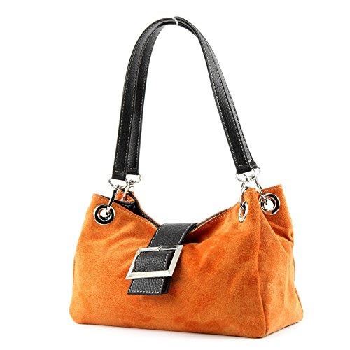 modamoda de - ital. Damentasche Handtasche Tragetasche Henkeltasche Wildleder Klein TL02 Orange1