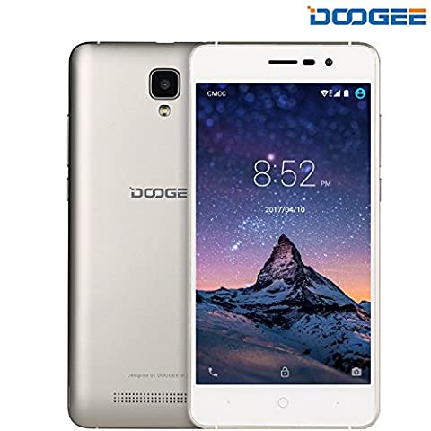 Smartphone ohne Vertrag, DOOGEE X10 Dual SIM Android 6.0 Handy, 5 Zoll HD Display, MT6570 Prozessor 1.3 GHz, 3360mAh Grosse Kapazität Smartphones, 5.0MP Kamera with Flash, 8GB ROM, Bluetooth - Gold