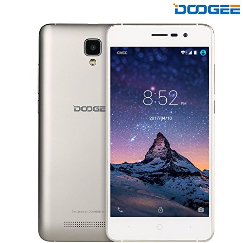 rag, DOOGEE X10 Dual SIM Android 6.0 Handy, 5 Zoll HD Display, MT6570 Prozessor 1.3 GHz, 3360mAh Grosse Kapazität Smartphones, 5.0MP Kamera with Flash, 8GB ROM, Bluetooth - Gold... ()