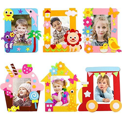 Bastelset Kinder, Yuccer 6 PCS Bilderrahmen Set Bilderrahmen zum Selbstgestalten Kindergeburtstag Gastgeschenke für Mädchen