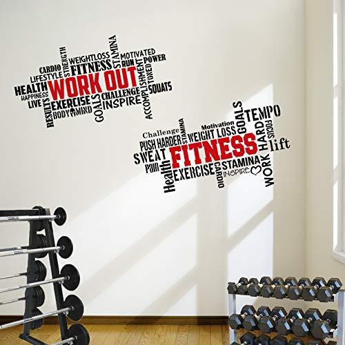 2 grandes adhesivos de pared para entrenamiento de fitness con citas de gimnasio. Excelente relación calidad-precio.