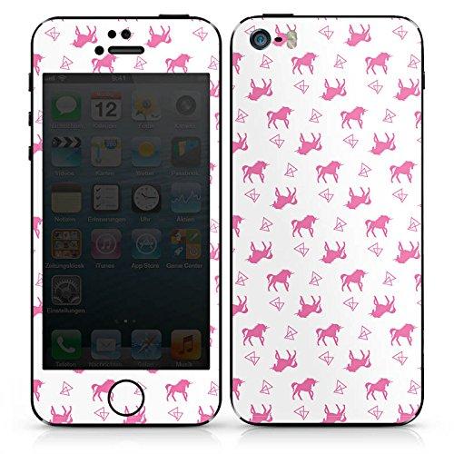 Apple iPhone SE Case Skin Sticker aus Vinyl-Folie Aufkleber Einhorn Unicorn Pink Muster DesignSkins® glänzend