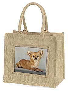 Advanta ad-ch6bln Chihuahua Große Einkaufstasche/Weihnachten Geschenk, Jute, beige/natur, 42x 34,5x 2cm