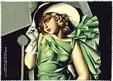 Fridolin 18841 -Paño de limpieza para gafas en muselina con diseño de Muchacha con guantes de Lempicka, 18x 12,5x 1cm, multicolor