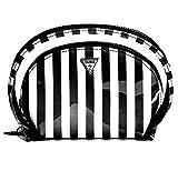 GUESS Black Striped Nesting Makeup Bag Cosmetics Case (2 Piece Set)