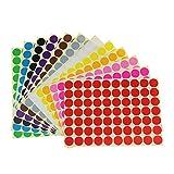 Runde Punktaufkleber,Farbetiketten 19mm Dot Klebepunkte 16 Farben/Blatt Farbkodierung Etiketten 1120 Stück Markierungspunkte