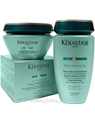 Kerastase Resistance Bain De Force Shampoo 8.5 and Masque Force Architecte 6.8 Duo, for Brittle, Very Damaged...